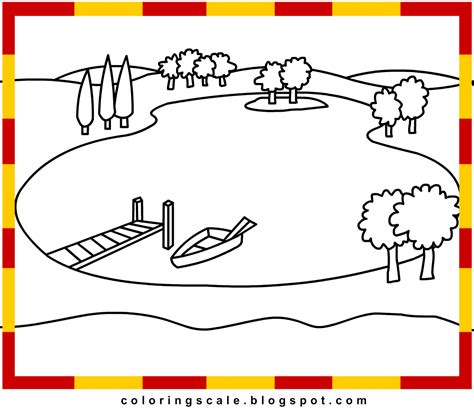 How To Draw Lake Lake Coloring Page