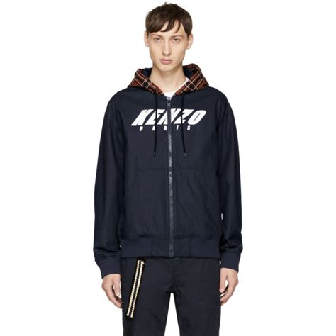 Jaket Bomber Wanita Sesnor Kanvas Navy kenzo logo print canvas hooded bomber jacket in navy