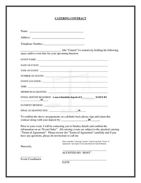 interesting blank catering contract template   blank  fillable detail information