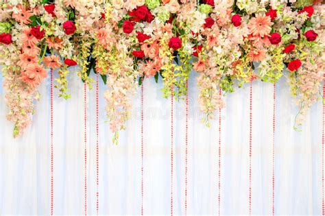 Background Wedding Jawa by Beautiful Flowers And Wave Curtain Wall Background