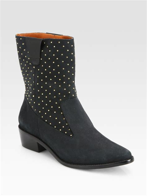 minkoff sydnie studded suede western boots in