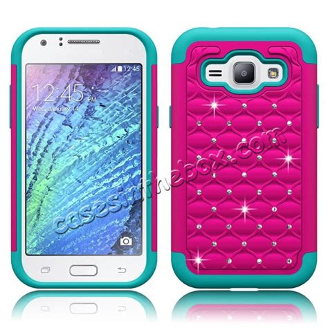 amazoncom samsung galaxy j1 case cover accessories hybrid armor dual layer diamond bling case cover for