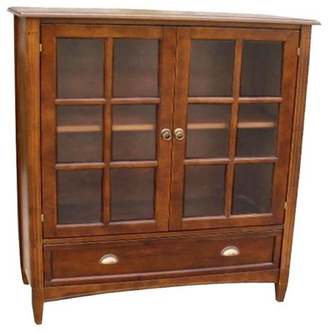 Solid Wood Bookcase With Doors Wayborn Solid Wood Bookcase With Doors Brown 9122 Contemporary Bookcases By Hayneedle