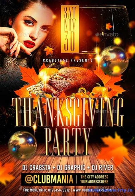 65 Best Thanksgiving Party Flyers Print Templates 2018 Frip In Thanksgiving Flyer Template Free