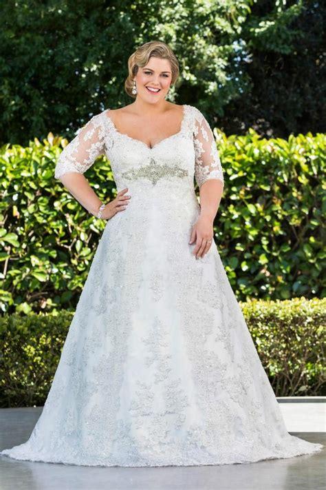 modest plus size 2016 wedding dresses half sleeve