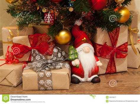christmas presents under the tree royalty free stock