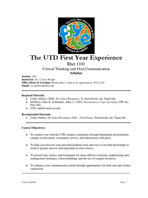 Ut Dallas Mba Work Experience Requirements by Ut Dallas Syllabus For Rhet1101 016 10f Taught By