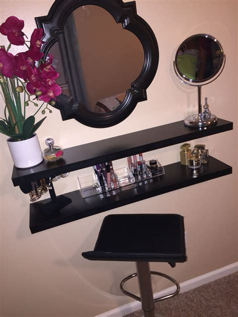 diy makeup vanity diy shelves diy makeup my own diy vanity i made using floating shelves