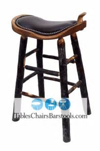 Leather Saddle Seat Bar Stools Amish Built Rustic Lodge Western Style Bar Stool With