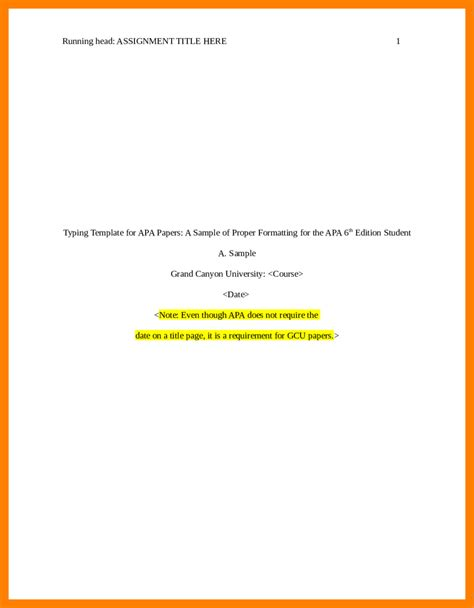 title page of apa template