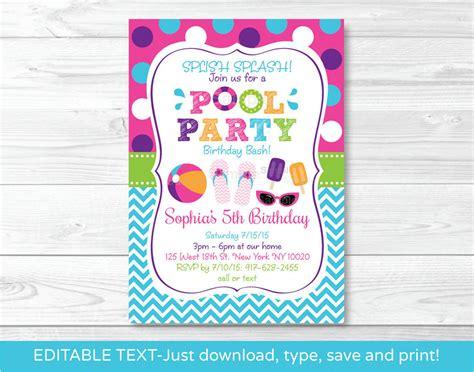 girls pool party printable birthday invitation editable