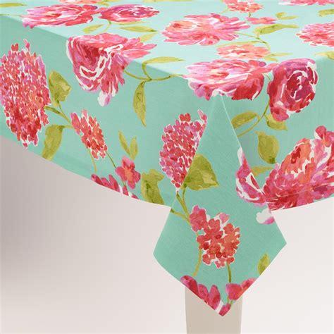 Gr Aqua Flower Pink aqua and pink floral tablecloth world market