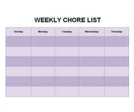 chore templates doc 600468 chore list template sle chore chart 9