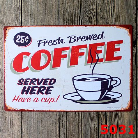Poster One 13 20x30cm retro metal tin coffee poster sign plaque wall decor bar