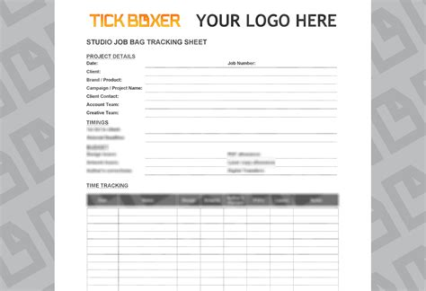 studio job bag cover sheet template tick boxer