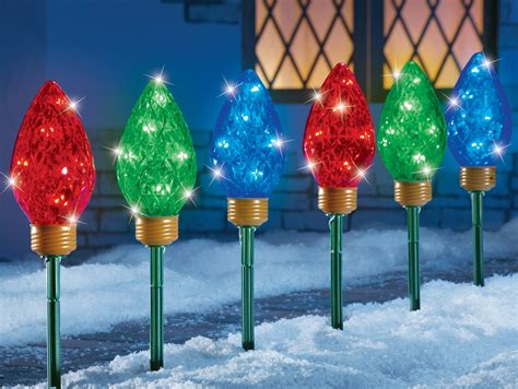 tall christmas light stakes set of 3 sparkling led bulbs garden path light stakes