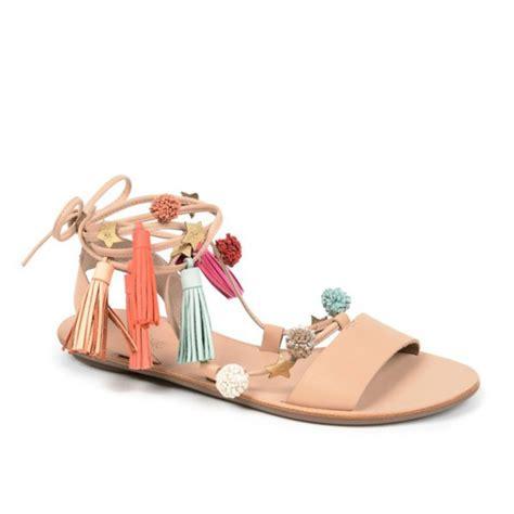 Sandal Pompom Flat shoes pom poms tassel sandals flats wheretoget