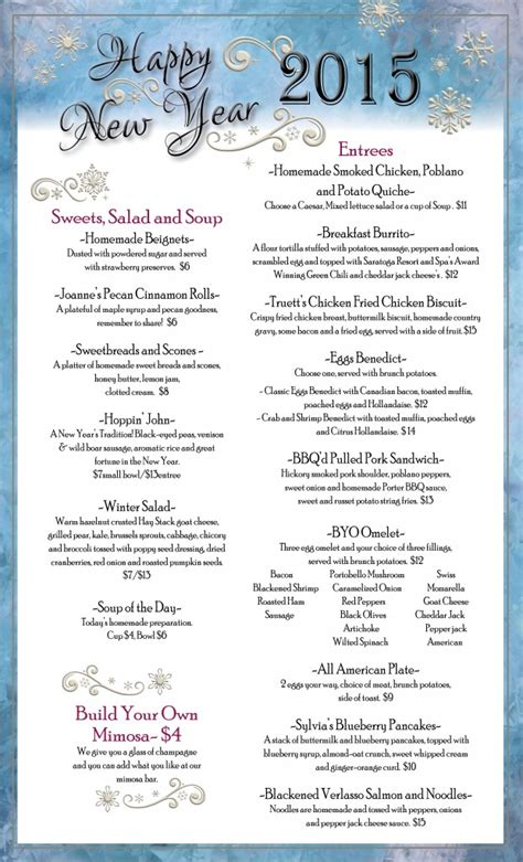 new year breakfast menu ring in the new year at saratoga resort spa