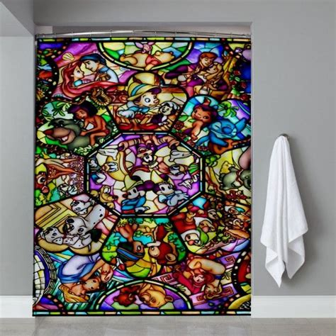 disney curtain all disney heroes stained shower curtain ucaser shower