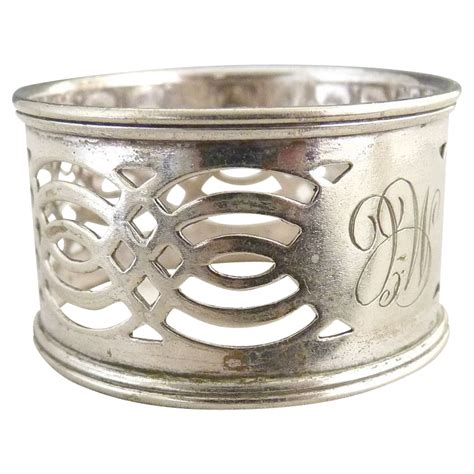 antique silver napkin ring pierced design from