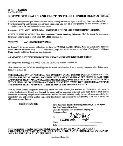 Letter Of Intent To Purchase Foreclosed Property Exles Of Foreclosure Notices Gold And Hammes