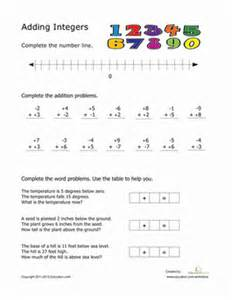 adding integers worksheet education com