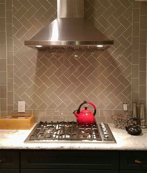 Taupe Glass Subway Tile   Herringbone, Kitchen backsplash
