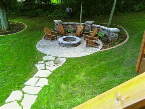 backyard fire pit area fire pit circle with stepping stone path backyard ideas