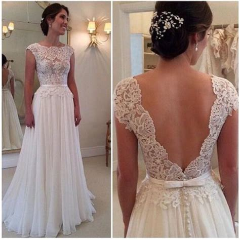2015 Sexy Backless Wedding Dress Long Chiffon A Line Lace Beach Wedding Dresses Jewel Neck Floor