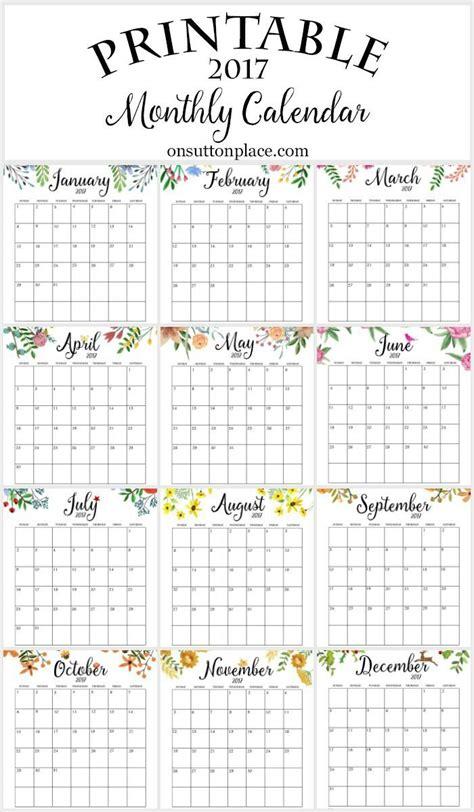 printable monthly calendar printable
