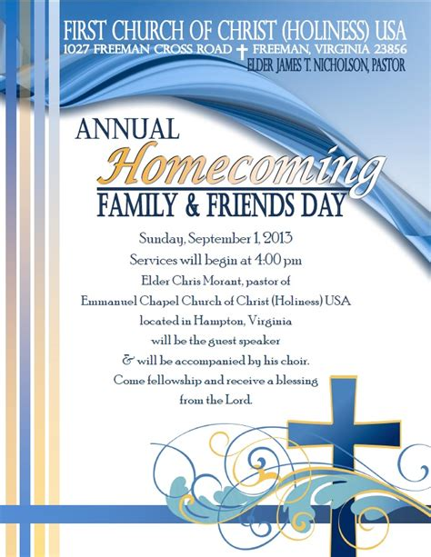 Homecoming Family Friends Day Eastern Diocese Church Homecoming Program Template