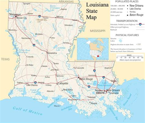 louisiana map cards america states and provinces at howard payne