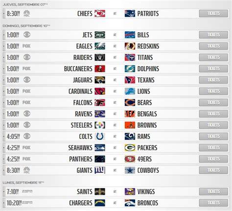 calendario completo de la temporada 2017 de la nfl