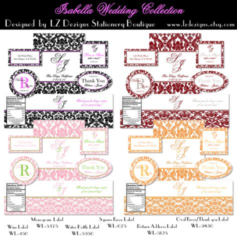 wedding labels free the isabella collection by lz dezigns