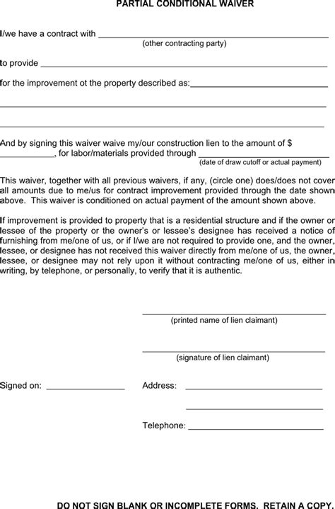 download michigan partial conditional waiver for free
