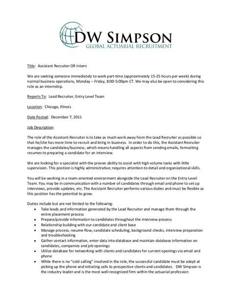 cover letter for internship actuary entry level assistant recruiter or intern description