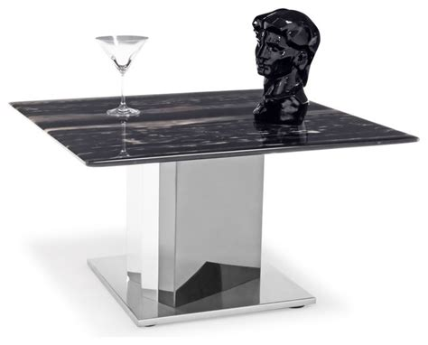 black and white marble polished stainless steel malbec nero black and white marble end table with polished stainless steel base contemporary side