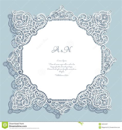 paper lace templates card square cutout lace frame stock vector image 58354287