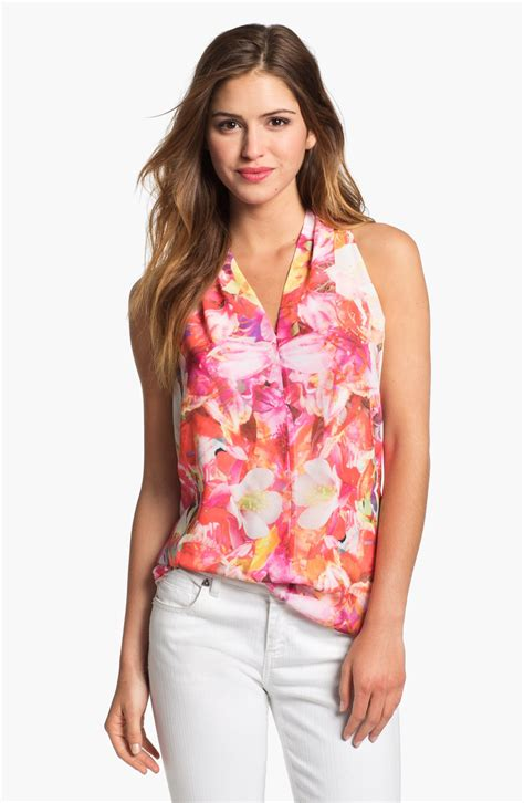 Sleeveless Floral Blouse vince camuto corsage floral sleeveless blouse in pink