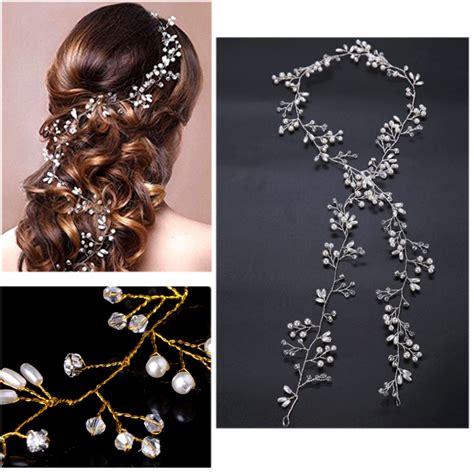 Hair Ornaments Imitation Pearl Headband 2017 luxury wedding bridal rhinestone faux pearl headband tiara hair chain headpiece in hair