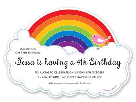 printable birthday cards rainbow 14 awe inspiring rainbow birthday party invitations