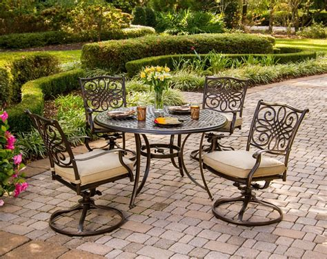 Swivel Rocker Patio Dining Sets Hanover Traditions 5 Outdoor Dining Set With Swivel Rocker Chairs Patio Table