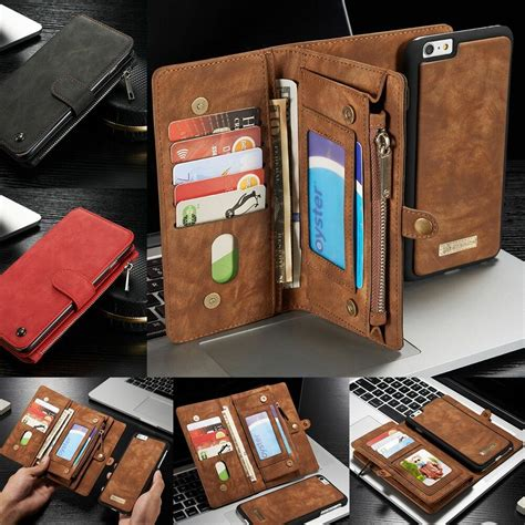 iphone 7 7 plus wallet with detachable folio magnetic buttons zipper wallet ebay