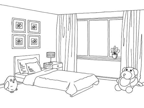 bedroom clipart black and white pencil and in color