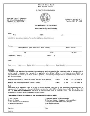 Sc Criminal Record Expungement Greenville County Expungement Application Fill