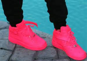 colored air ones shoes neon pink nike air 1s wheretoget