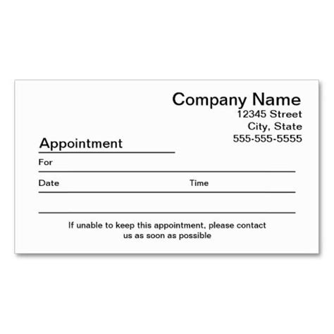 appointment reminder business card template appointment reminder business card business cards