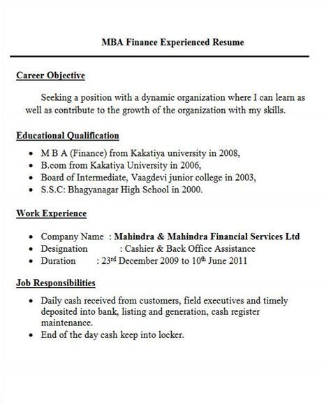 Mba Description Finance by 30 Fresher Resume Templates Pdf Doc Free Premium