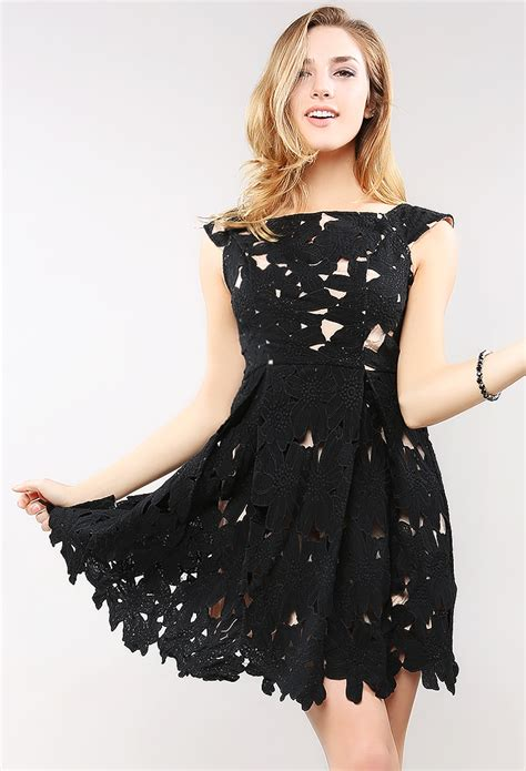 Zackynza Flowery Flare Mini Dress flower lace flare mini dress shop out dresses at papaya clothing