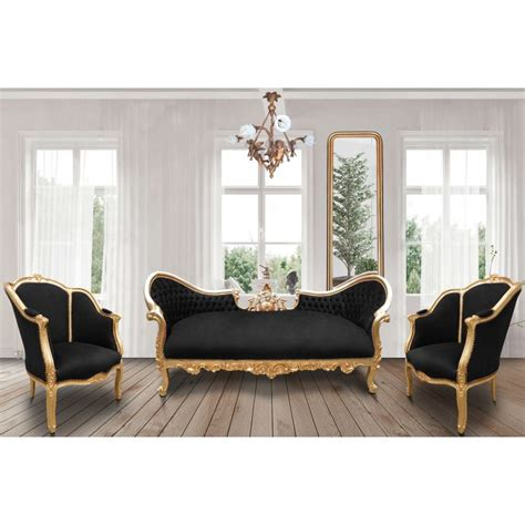 black and gold sofa baroque napoleon iii sofa black velvet fabric and gold wood
